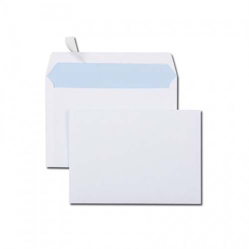Boîte de 500 enveloppes blanches C6 114x162 80 g/m² bande de protection